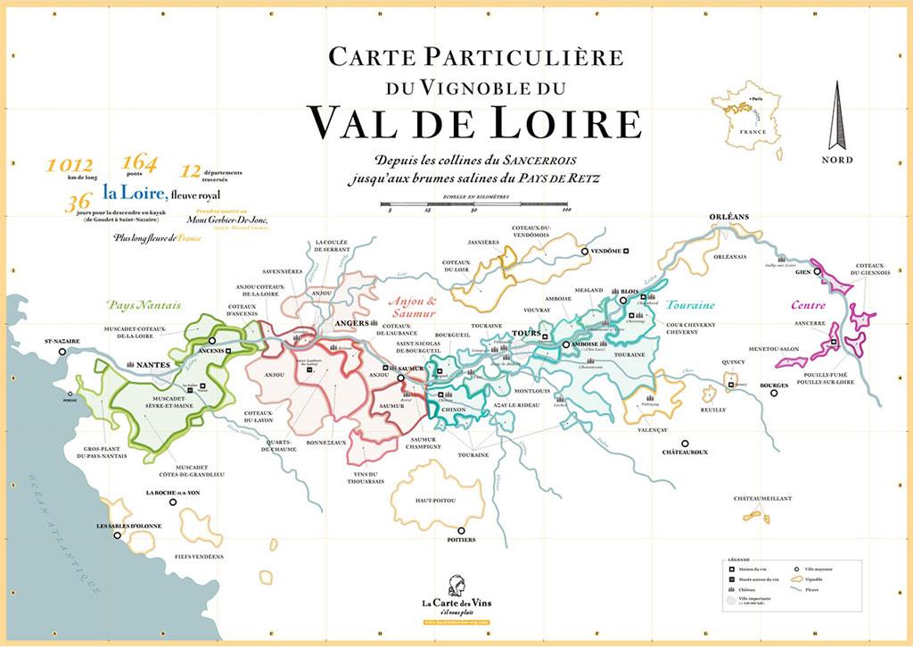 Carte particulière du vignoble du Val de Loire