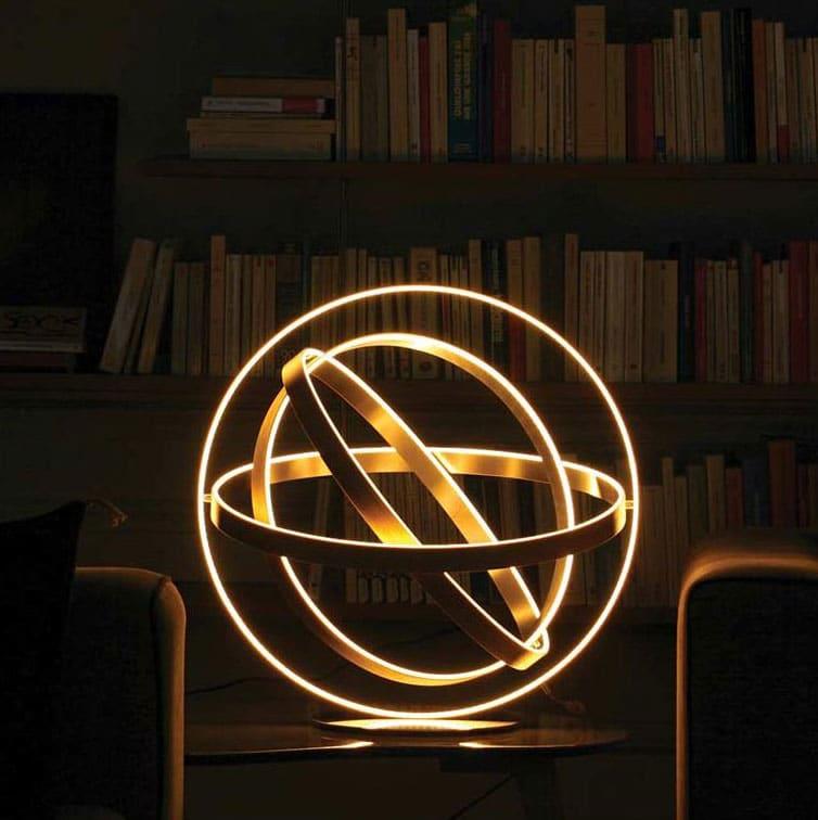 Sphère armillaire éclairage LED, structure de hêtre, chêne et acier