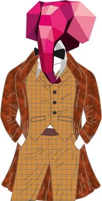 Eudes en complet couleur camelle à carreaux avec manteau rouge en fourrure