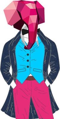 Évariste est pantalon rose, gilet bleu ciel et manteau bleu marine