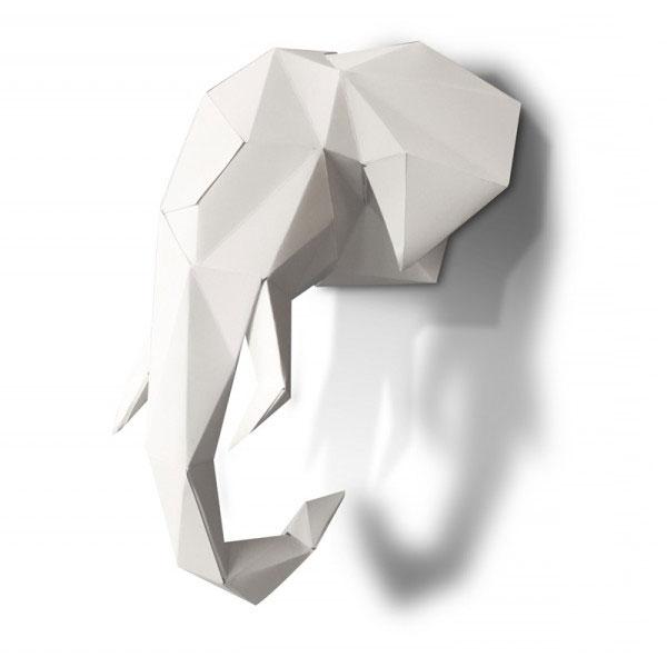 Tête d'éléphant en origami à monter