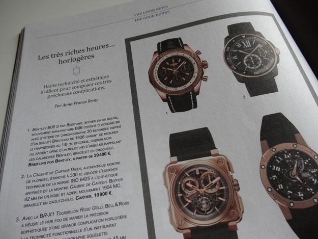 Magazine The Good Life, sélection de montres