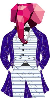 Eudes en complet marinière vertical et manteau bespoke violet