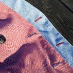 Détail de coutures sur les vestes blouge en motif pied-de-poule de chez Hockerty